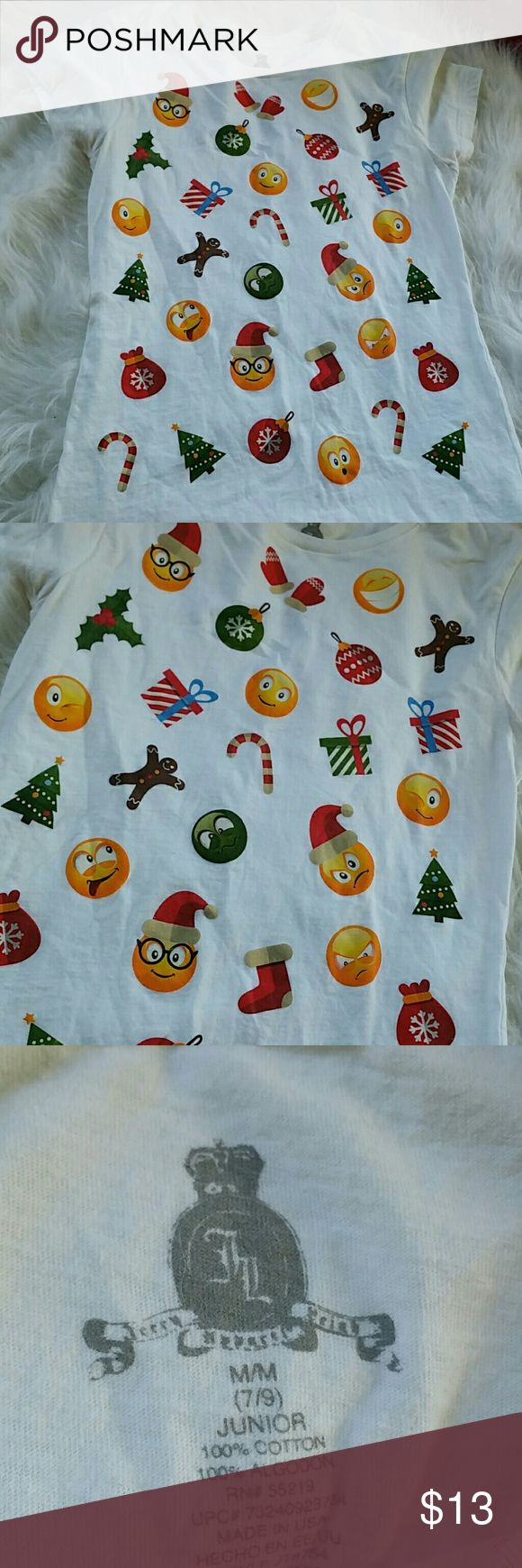 BNWOT CHRISTMAS EMOJI TOP ??????????? How cute is this for Christmas has everything from the gingerbread man shoe nerdy Santa Claus emoji has Christmas trees emoji happy and mad faces well the list goes on you get the gist..... this says medium 7 - 9 jr BNWOT Tops Tees - Short Sleeve