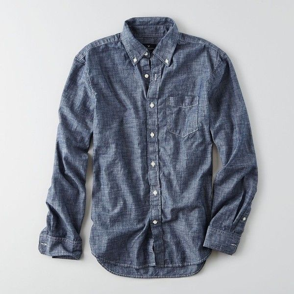 AEO Chambray Button Down Shirt ($50) ❤ liked on Polyvore featuring men's fashion, men's clothing, men's shirts, men's casual shirts, mens casual button down shirts, mens blue chambray shirt, mens navy blue button up shirt, mens chambray shirt and mens button down collar shirts