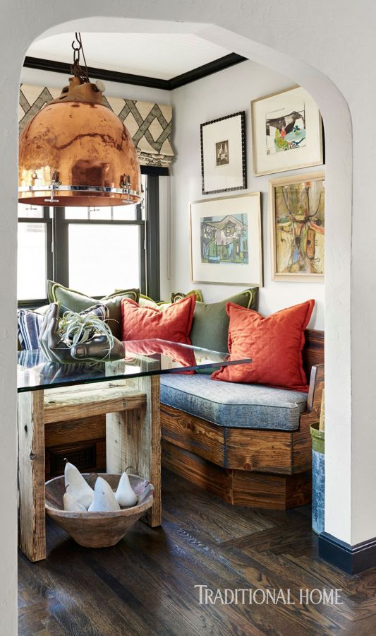 an oversize timpani drum light caps off the cozy hideaway photo dustin peck design catherine macfee and justine macfee breakfast nook