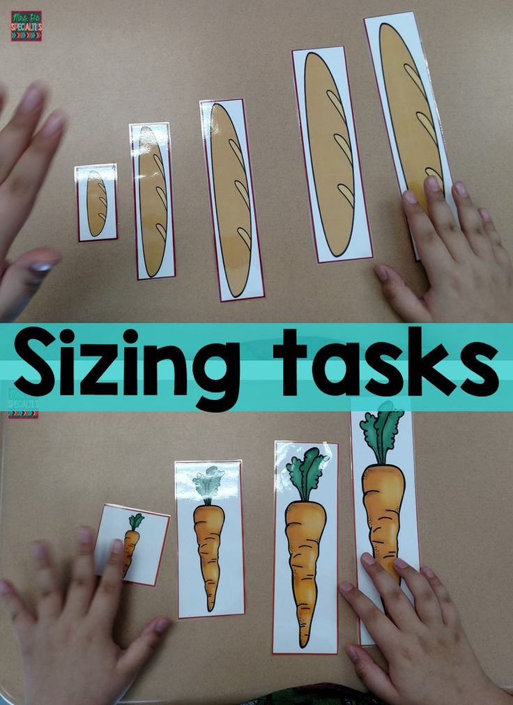 Sizing tasks perfect for your food unit or work tasks time.