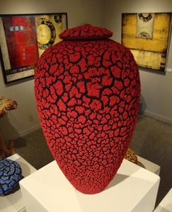 Red Lichen Jar with Lid - RANDY O'BRIEN: