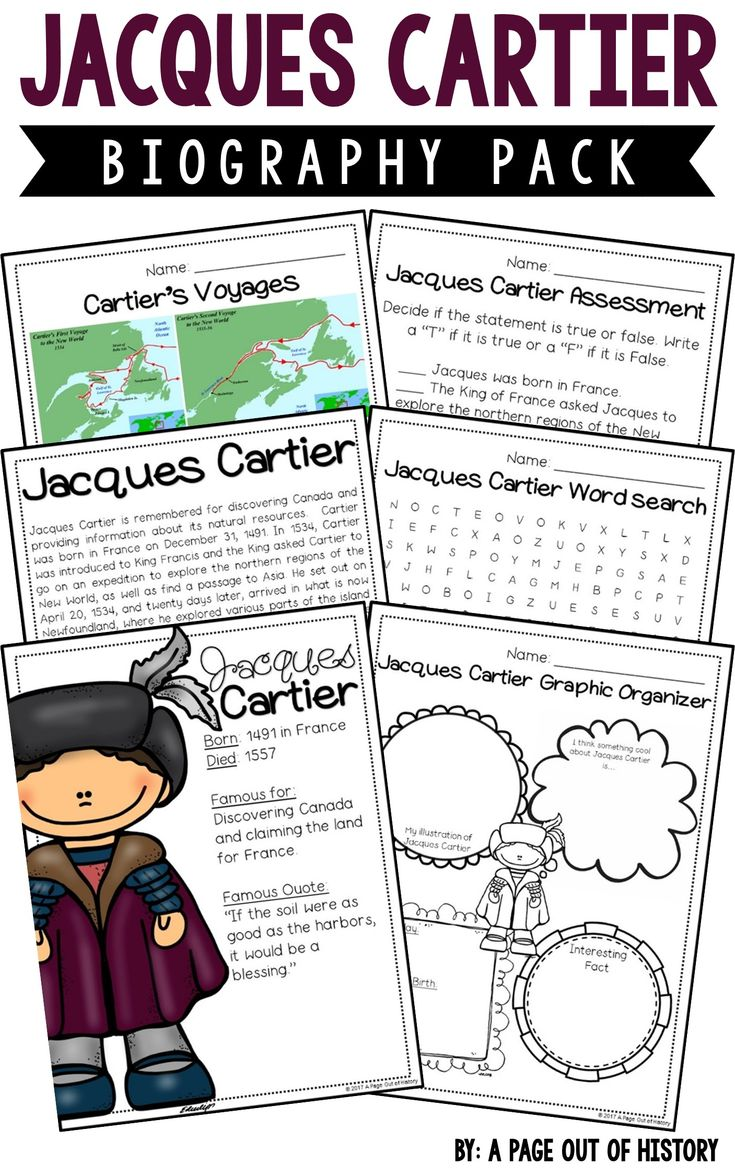 This Jacques Cartier biography pack is a great addition to your new world explorers social studies unit/curriculum! Included in this biography pack is a nonfiction passage about the life of Jacques Cartier and a variety of fun activities to do with your students! The best part? It's NO PREP! Just print, copy, & go!