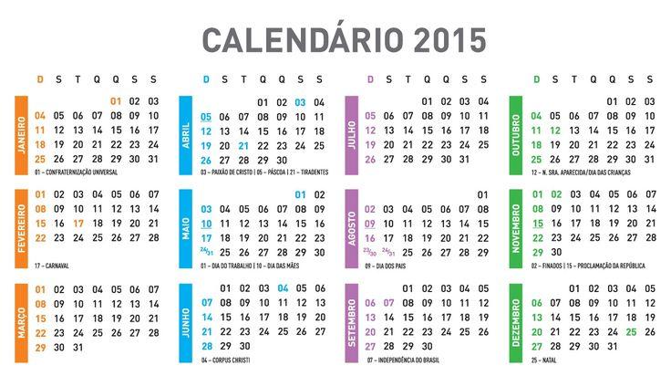 Calendário com Feriados em 2015