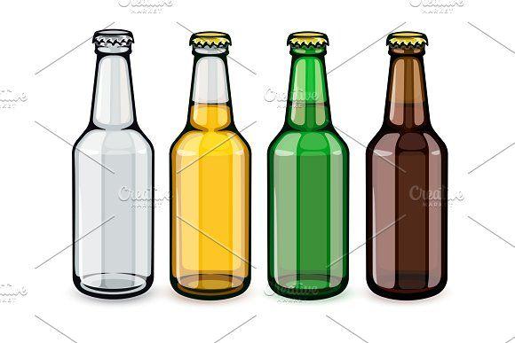 Beer Bottles Set Of Empty And Full Bottle Beer Bottle Beer
