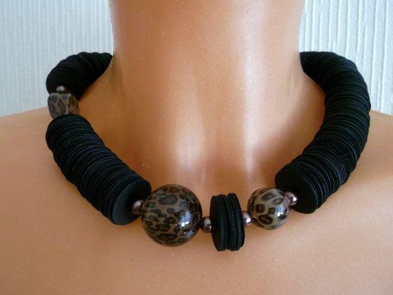 Black paper necklace paper statement design  ladies by BeAliter