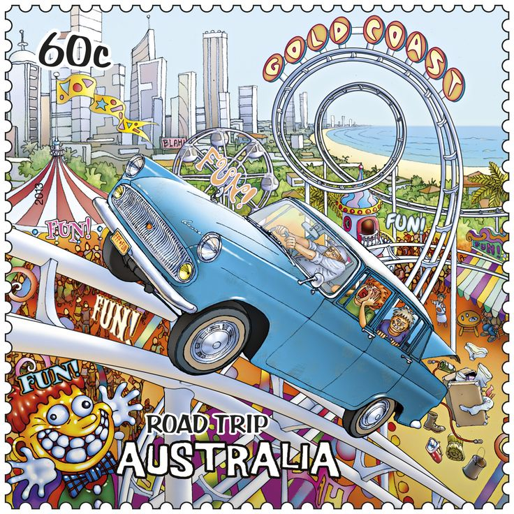 Australia's Gold Coast and its theme parks #stamps