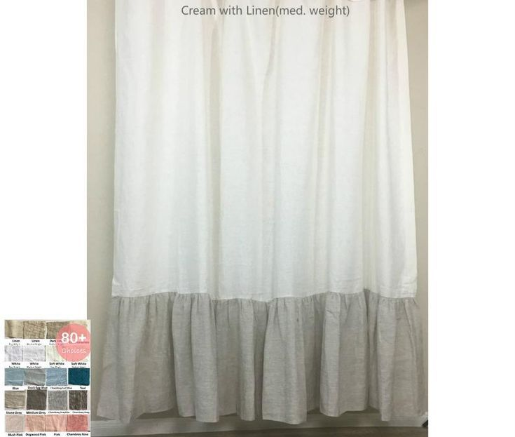 Natural Linen Color Block Shower Curtain With Mermaid Long Ruffles Custom Shower Curtain Extra Lon Custom Shower
