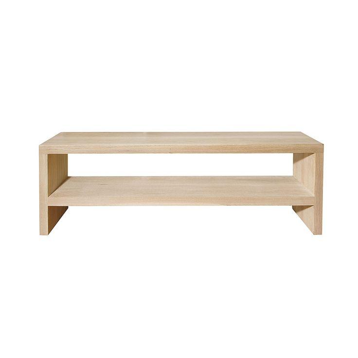 TV unit solid 44mm raw oak with shelf – 13tv/oak