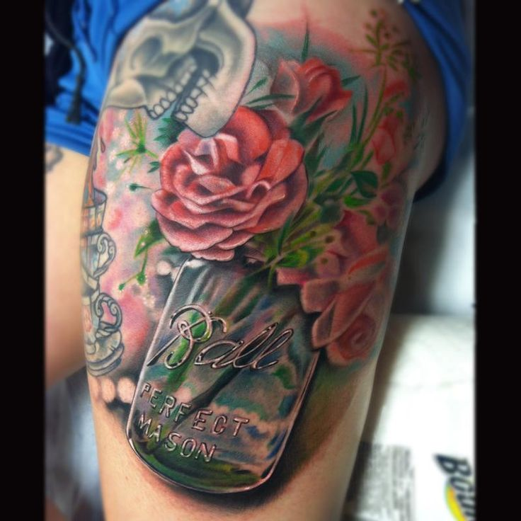 Off the Map Tattoo : Tattoos : Johnny Smith : mason jar with flowers