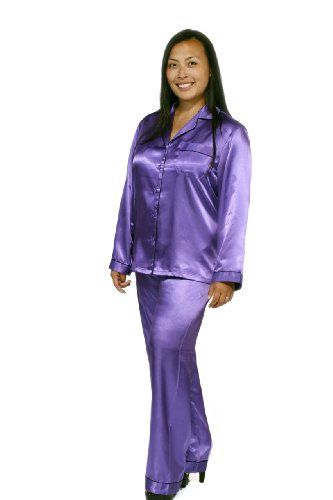 Womens Purple Satin Pajama Set