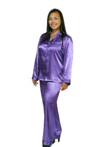 Womens Purple Satin Pajama Set