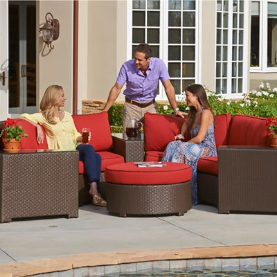 Wicker Furniture,Palm Beach Casual Furniture,Continental Crescent Deep  Seating Wicker Collection   American