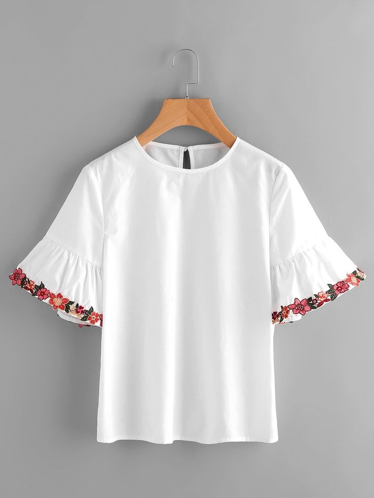 Shop Embroidered Flower Trim Trumpet Sleeve Top online. SheIn offers Embroidered Flower Trim Trumpet Sleeve Top & more to fit your fashionable needs.