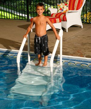 Mighty Step Above Ground Pool Stairs  - In The Swim http://www.intheswim.com/p/mighty-step-for-above-ground-pools