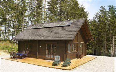 壁紙をダウンロードする コテージ, 森林, 太陽光発電パネル
