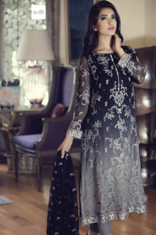 2015 Mbroidered Eid Maria B Formal Dresses Pics