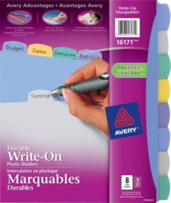 Staples®. has the Avery® 16171 Durable Write-On Plastic Dividers, Multicolour, 8-Tab Set you need for home office or business. Shop our great selection, read product reviews and receive FREE delivery on all orders over $45.