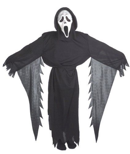 Ghostface Costume Boy Fun World Costumes. $13.88. Pants and gloves not included.. Includes: a hooded robe, belt and mask.. Size: Standard (One size fits most up to size 12). Save 44%!