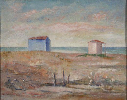 CARRA' CARLO (Quargnento 1881 – Milano 1966)  Marina a Forte dei Marmi 1940  Olio su cartone telato, 40x50