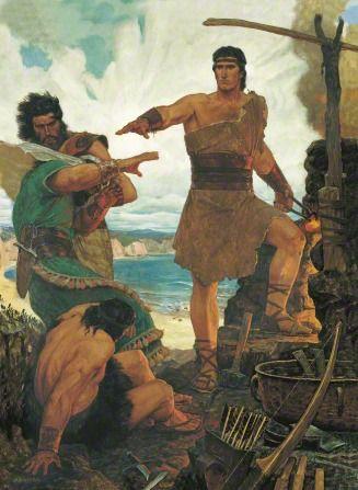 Nephi Subdues His Rebellious Brothers (Gospel Art Book [2009], no. 70) - 1 Ne. 17:15–55