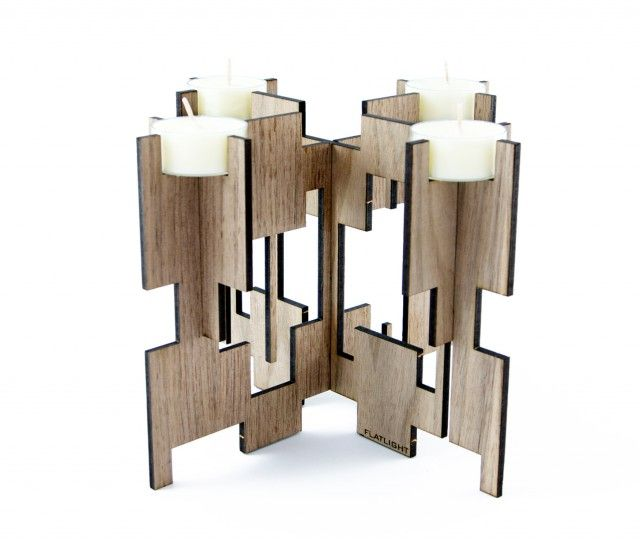 Walnut candle holder by Scandinavian designer Flatlight Design -Nordic Design Collective