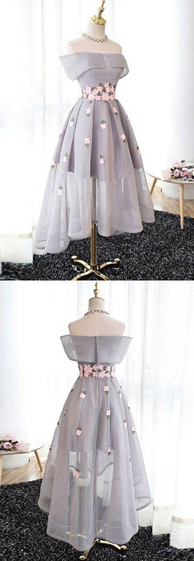 Elegant A-Line Off-Shoulder High-Low Gray Organza Prom/Bridesmaid Dress,37