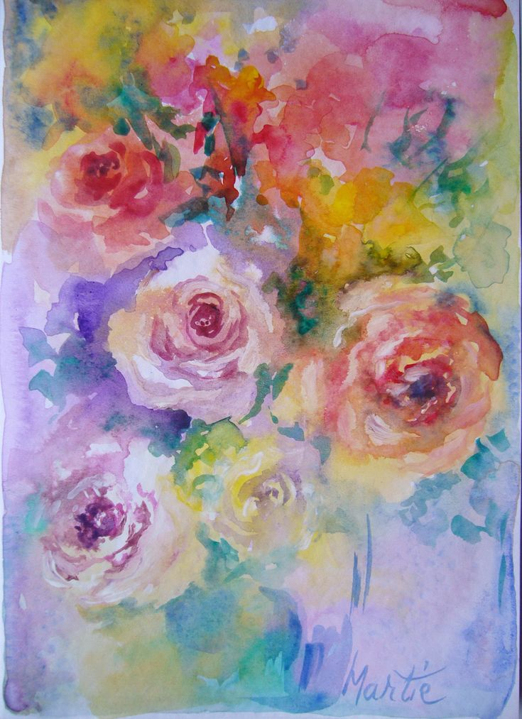 Roses- watercolor, March greeting card, 21/15 cm, 2016, Derecichei Simona Mihaela