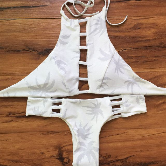 Sexy High Neck Bikini Bandage Swimwear Cut Out Swimsuit Retro Halter Bikini Set Printed Summer Beach Suit
