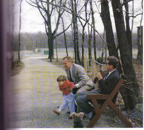 """ladyfalcon: """" Jack always encouraged his friends to lift his kids. Chilling at Camp David with PT buddy Paul """"Red"""" Fay in 1962 """""""