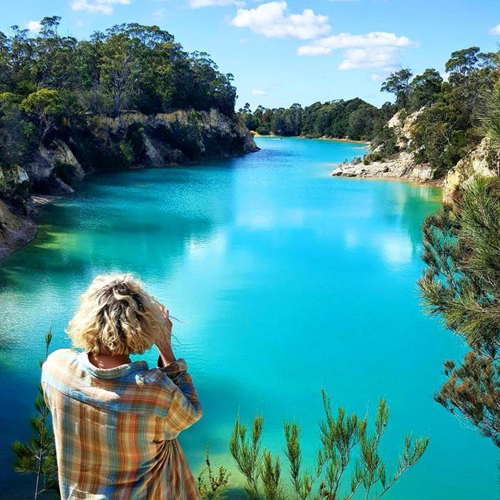 Little Blue Lake in NE Tasmania. The colour in the water is due to minerals that have seeped into the water from old pioneer era mining operations. Image sent in by Peter Dowling on IG: https://instagram.com/p/BDnKDimNgdw/