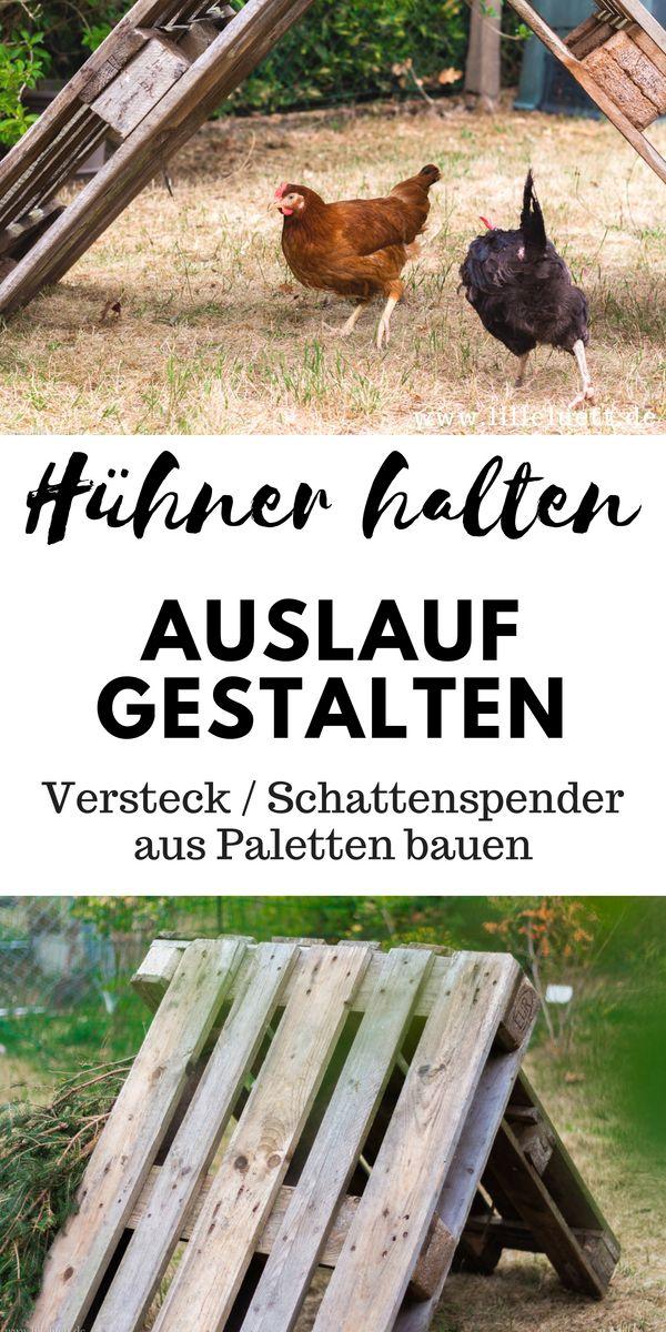 Hühner im Garten – Hühnergehege/ Hühnerauslauf gestalten – Paletten DIY – Ein Versteck bauen