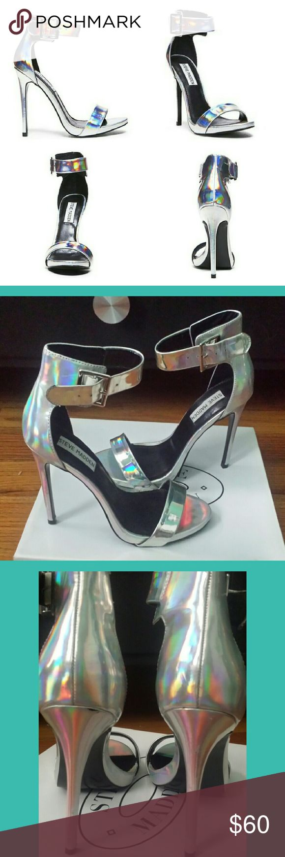 """Steve Madden silver holographic heels Steve Madden silver holographic heels  Heel hight: 4"""" Comes with original box Worn once Great used condition Steve Madden Shoes Heels"""