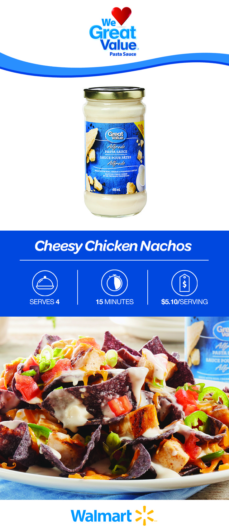 Cheesy Chicken Nachos with a deliciously affordable twist: Our Great Value Alfredo Pasta Sauce! Click on the link to find the recipe. #WeLoveGreatValue #chickennachos #cheesenachos #summerrecipes #summerappetizers #nachos #cheesychickennachos #nachorecipes #cheesenachorecipes