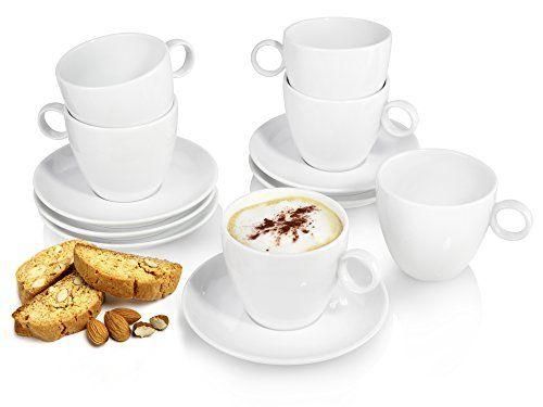 S�nger Cappuccino-Tassen Set mit Untersetzer aus Porzellan 12 teilig | F�llmenge ca. 250 ml | Perfektes Trinkgef�hl ohne scharfe Kanten