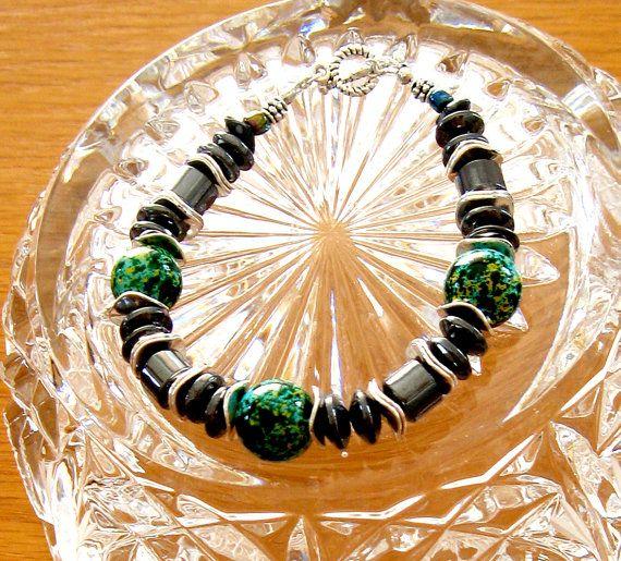 Hematite and Glass Bead Bracelet Art Deco Style