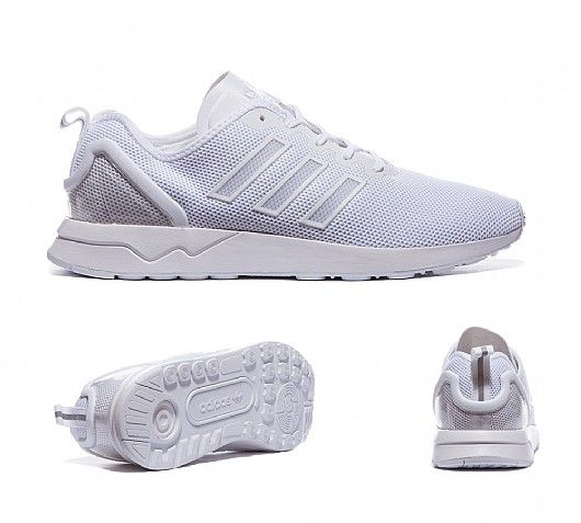 adidas Originals ZX Flux ADV Trainers in White. A popular running shoe from  the archives is afforded some streetwise swagger as the ZX flux is  embellished ...