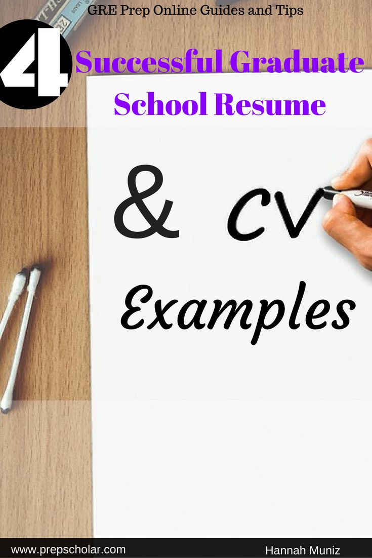 Crafting the perfect resume or CV for graduate school can be difficult to accomplish if you don't have a graduate school resume sample to refer to. To help you construct your own high-quality resume for graduate school, we're offering you four original resume and CV samples to use as examples