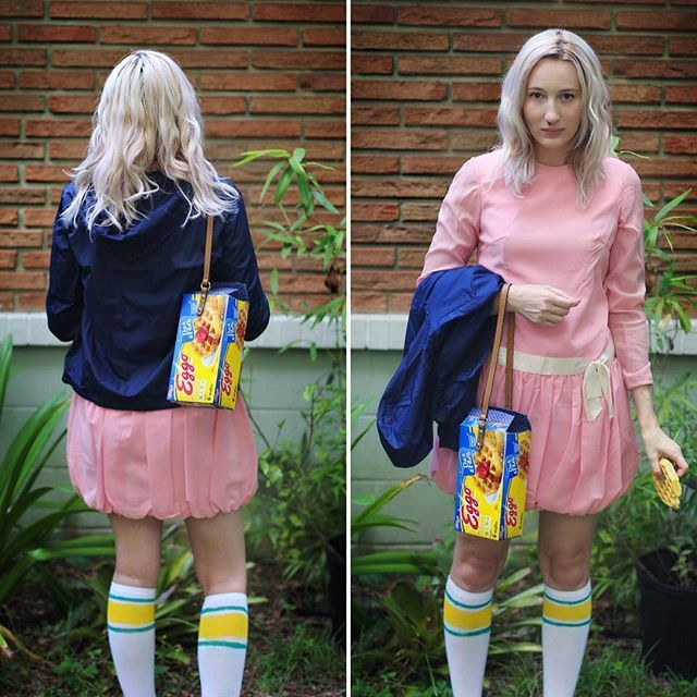 Suuuper excited for the Stranger Things costume/dance party tonight! I made myself a purse out of an Eggo box, and the vintage dress was a $5 find at @hipptheatre clean out! Eleven is ready to get down to some 80s tunes!!🎶💕 #strangerthings #eleven #elevenstrangerthings #eggo #costume