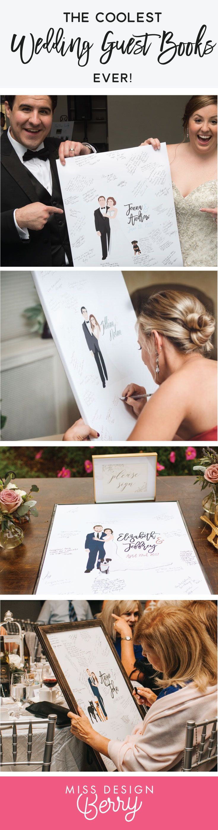The COOLEST wedding guest book alternatives EVER. Miss Design Berry custom illustrates the portrait to look JUST like you will on your wedding day! Your wedding guests will be blown away!