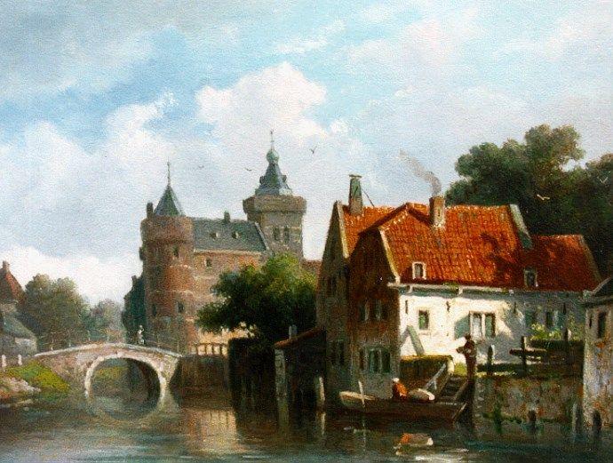 Adrianus Eversen (Amsterdam 1818-1897 Delft) Zonnig stadsgezicht met kasteel op achtergrond - Kunsthandel Simonis en Buunk, Ede (Nederland).