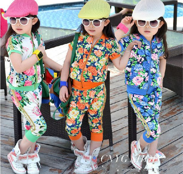 Sale Aones Girls rimmed flower print sport girl clothing sets zipper outerwear+haren pants 2pcs summer suits baby