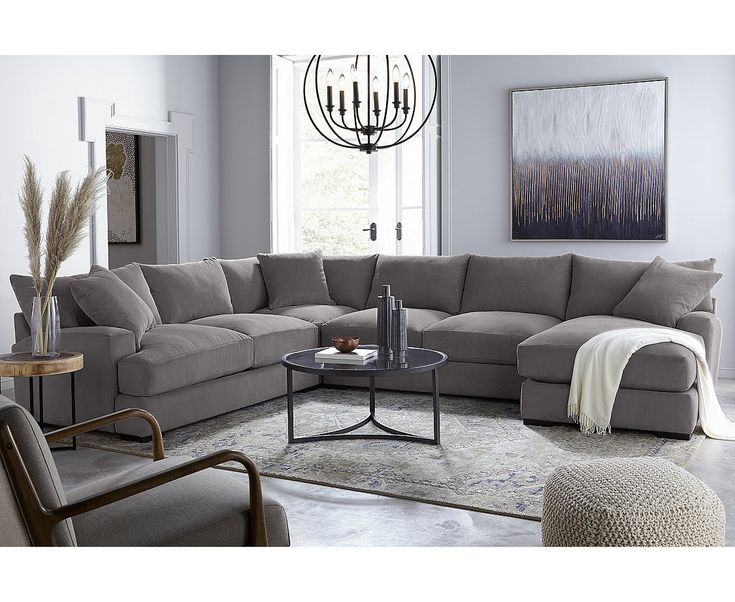 furniture rhyder 4pc 80'' fabric sectional sofa with