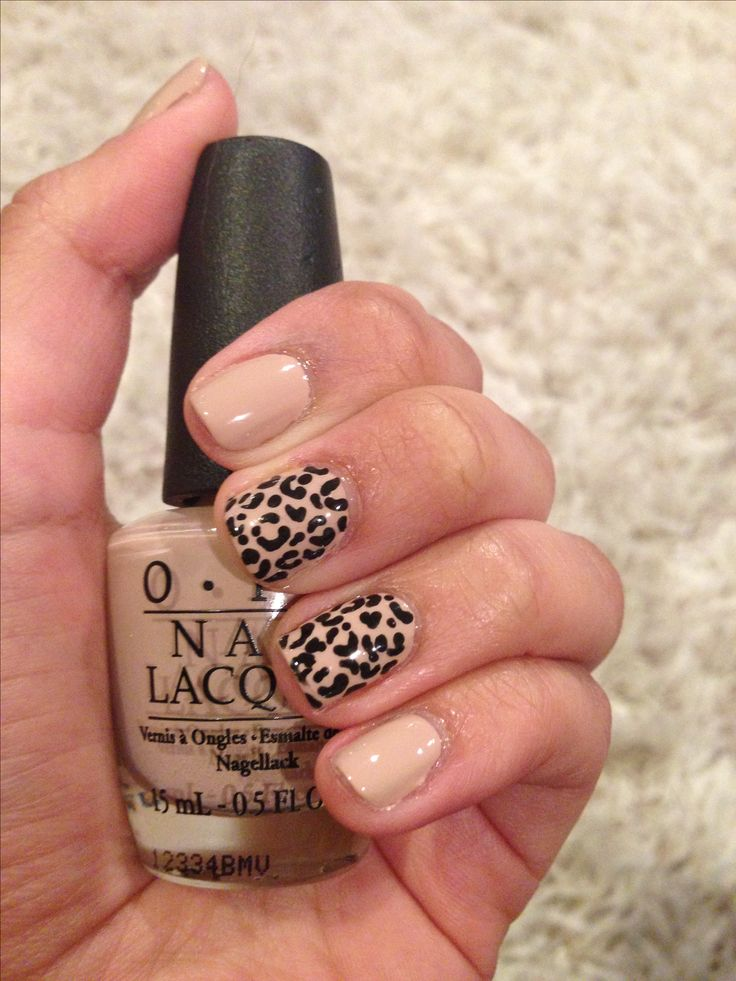 Nude Leopard Nails