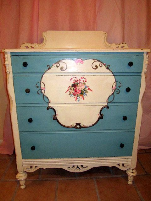 Quot Flower Garden Quot Painted Dresser Shabby Chic Painted