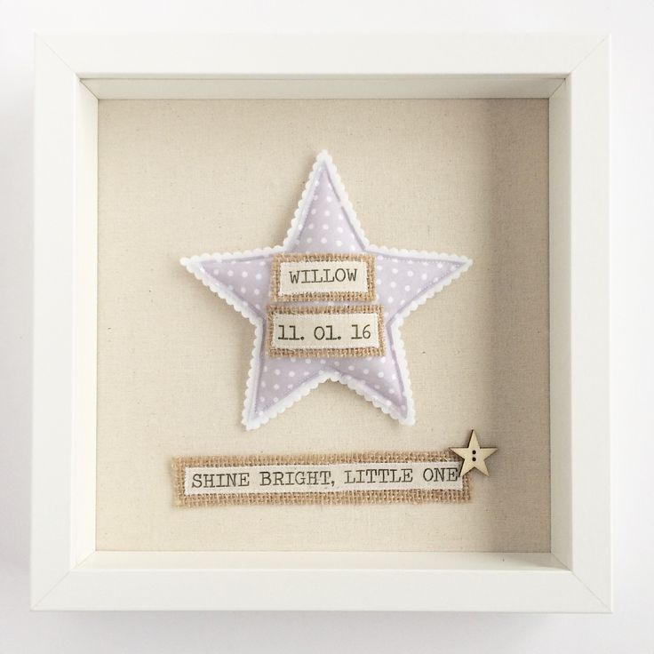 This personalised new baby frame features a cute textile star motif, baby's name and date of birth, and sweet 'Shine Bright Little One' wording. It makes a beautiful commemorative keepsake to display in your precious newborn's nursery, or to give as a gift to parents celebrating the birth of their new baby. FEATURES:- 25cm x 25cm white wooden box frame- Handmade, stuffed textile star motif - Packaged in a secure box- Personalised with baby's first name and da...