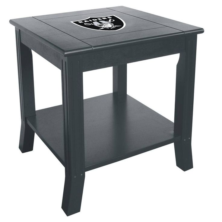 Show your Oakland Raiders spirit by having the Raiders logo displayed proudly on your NFL man cave side table. These beautiful side tables are made from select hard woods with a beautiful finish and a