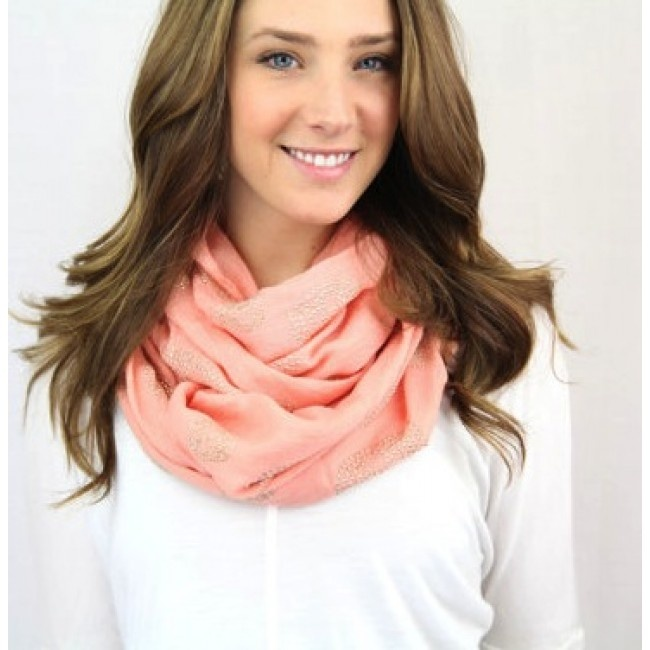 Coral Sparkly Infinity Scarf.