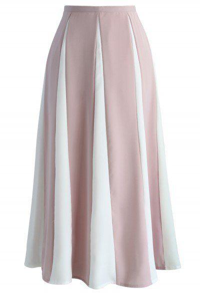 Memoria del A-line de la falda acariciado en rayas rosadas