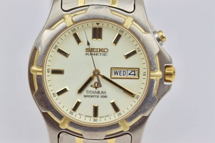 Seiko Kinetic Sports 100 Titanium Lumibrite Dial 5m43-OB69 ...