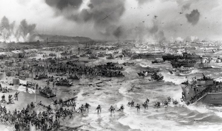 A picture of Allied soldiers landing in Normandy on D-Day 6 June 1944. It was the biggest seaborne invasion ever.